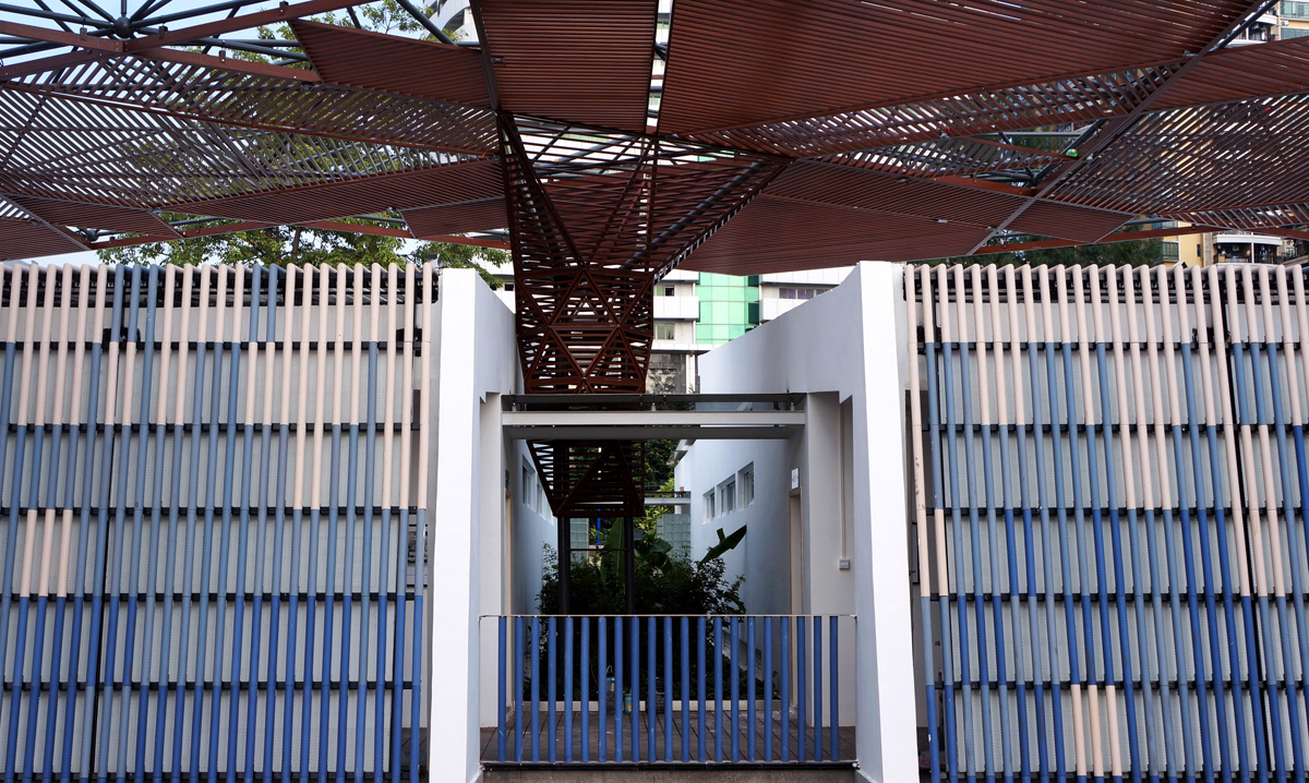 changing room courtyard and shade canopy