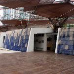 changing rooms and shade canopy