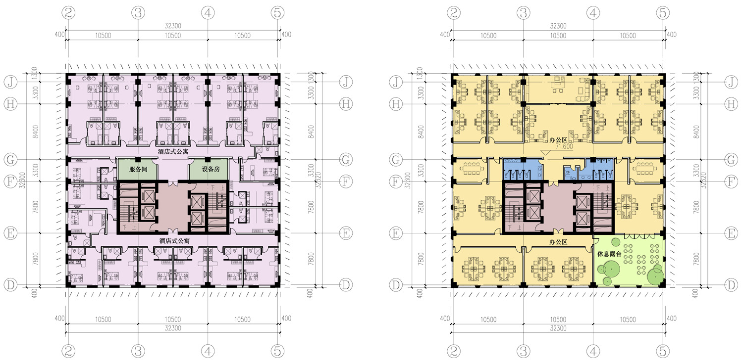 typical tower plans for hotel-apartment and office