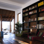 the lounge and book shelf wall