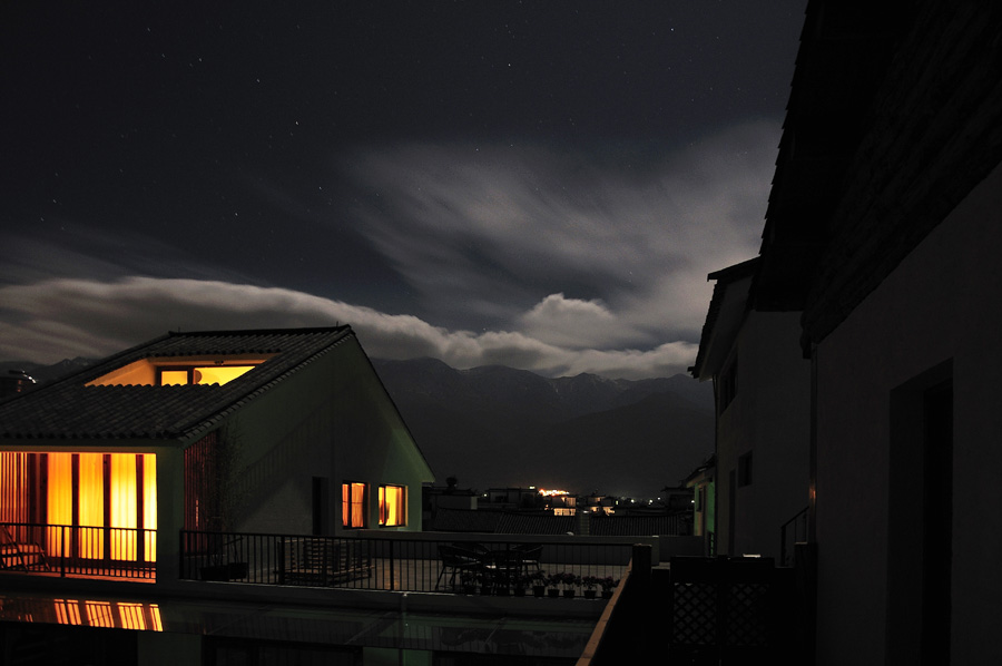 roof deck view to the mountain at night