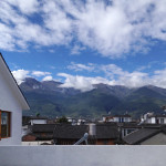view of mountain from roof deck